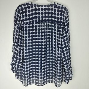 GAP Tops - Gap Navy and White Polka Dot Button Up Blouse
